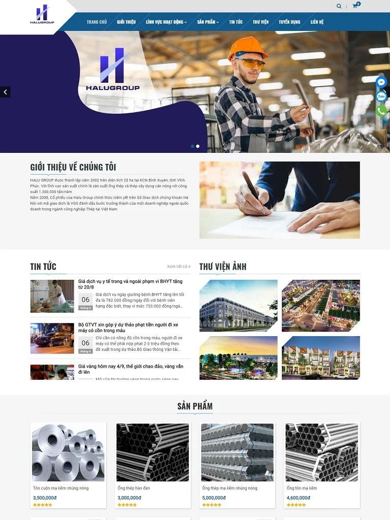 Template blogspot công ty kèm bán sản phẩm Halugroup