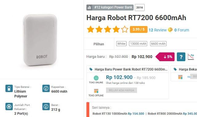 Power bank terbaik dan terkuat - ROBOT RT7200 6600 mAh