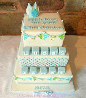 baby blocks and bunting owl christening cake