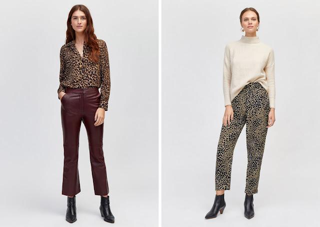 Кремовый свитер с леопардовыми брюками, бордовые брюки с леопардовой блузкой