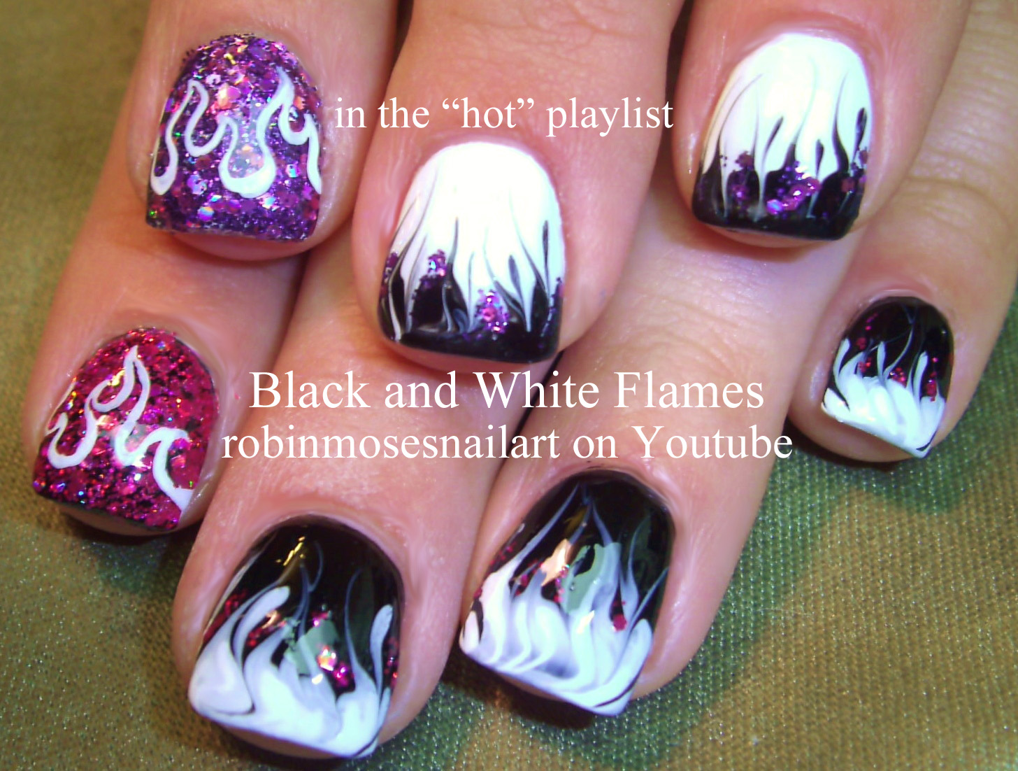 Nail Art by Robin Moses: black and white flames, pink and purple ...