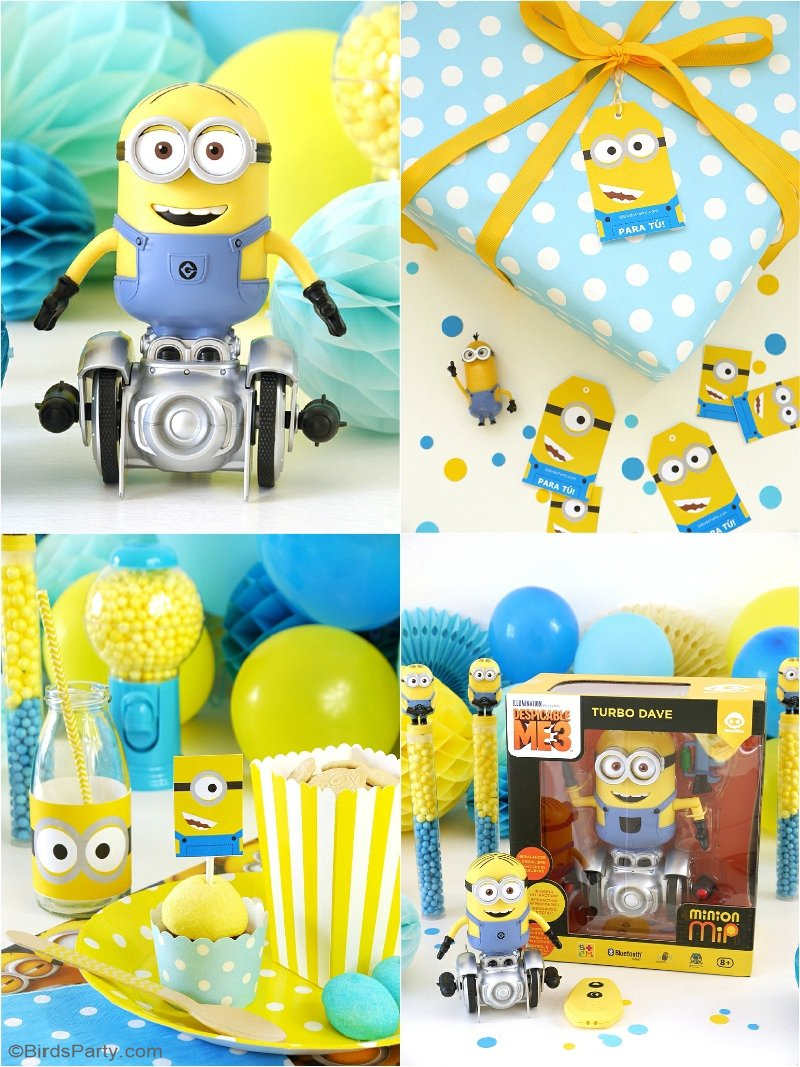 Minion Inspired Party Ideas & FREE Printables - birthday DIY decorations, gift ideas, food, favors and freebie decorations for your  celebrations! by BIrdsParty.com @birdsparty #minion #minionpartyideas #minionparty #minionbirthday #giftideasminion #minionfreeprintables