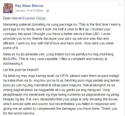 OFW Sends 'Balik-Bayan Box' to Family via Makati Express Cargo - What He Discovered When His Package Arrived Made Him Angry!