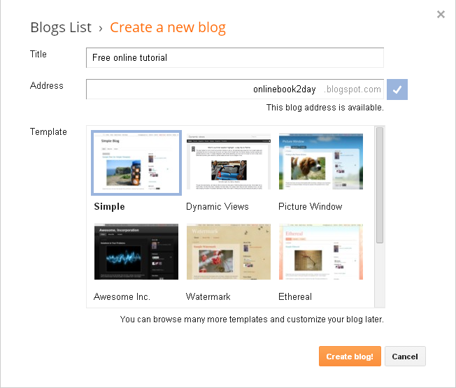Create your own website or blog name in blogger blog