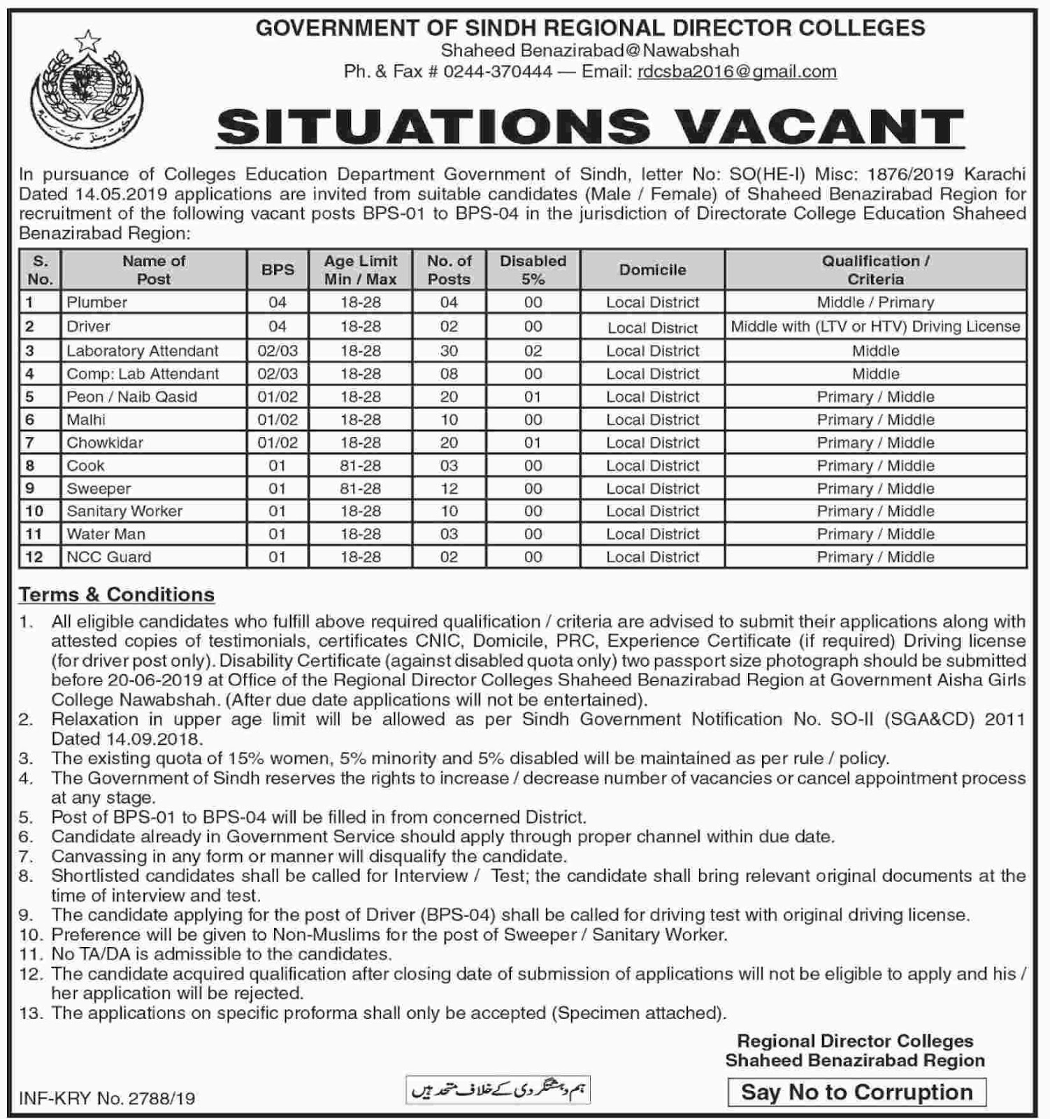 Middle Pass Govt of Sindh Regional Director Colleges 27 May 2019 Jobs