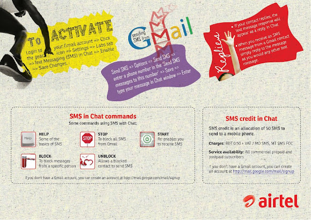 Airtel - Now you can send & receive sms using your gmail account to