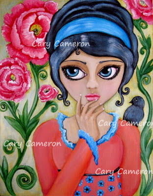 http://www.ebay.com/itm/ORIGINAL-folk-art-BIRD-flower-BIG-EYE-girl-FANTASY-Low-Brow-painting-CARYCAMERON-/322333557687?ssPageName=STRK:MESE:IT