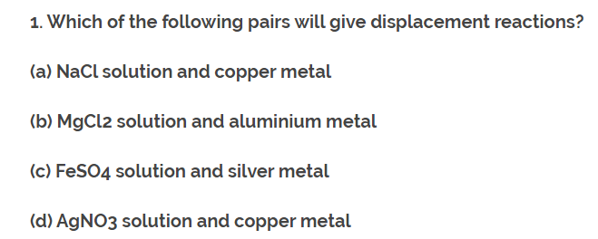 Class 10th Ch-3 Ncert Question Answer (Metals and Non-Metals). 5
