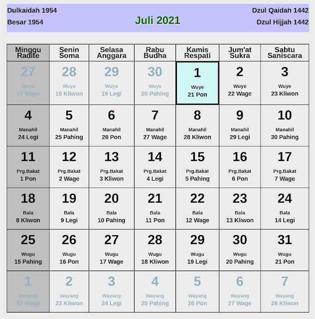 Kalender Jawa Juli 2021 Lengkap Hari Baik & Jelek