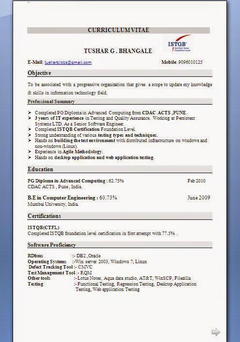 sample resume with istqb logo