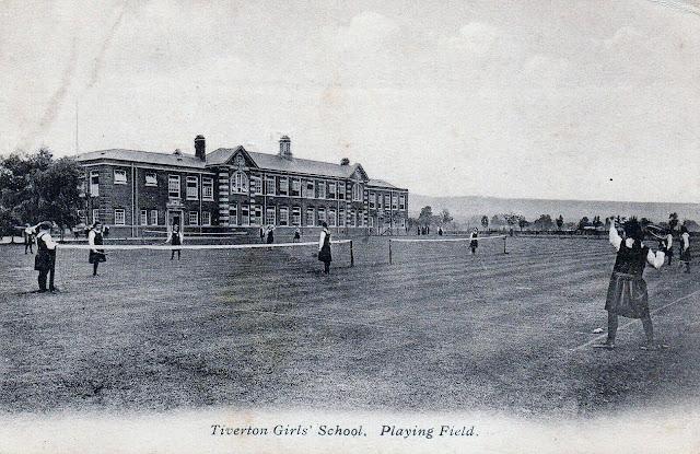 Postcard of Tiverton Girls' School Playing Field c.1912