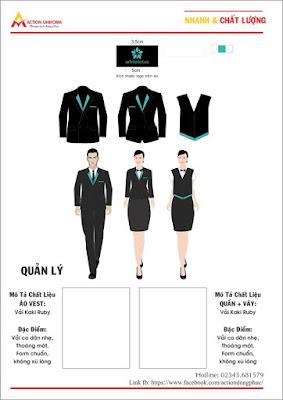 Mẫu đồng phục quản lý đen xanh