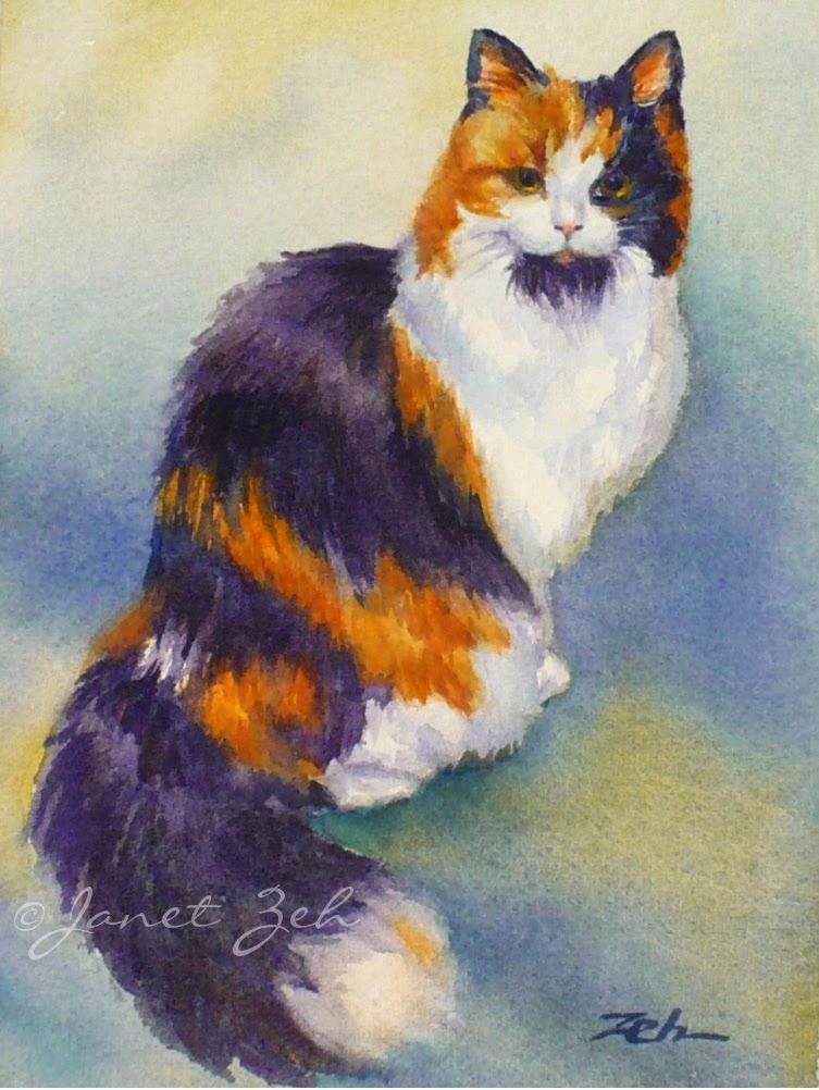 Janet Zeh Original Art Watercolor And Oil Paintings Cat