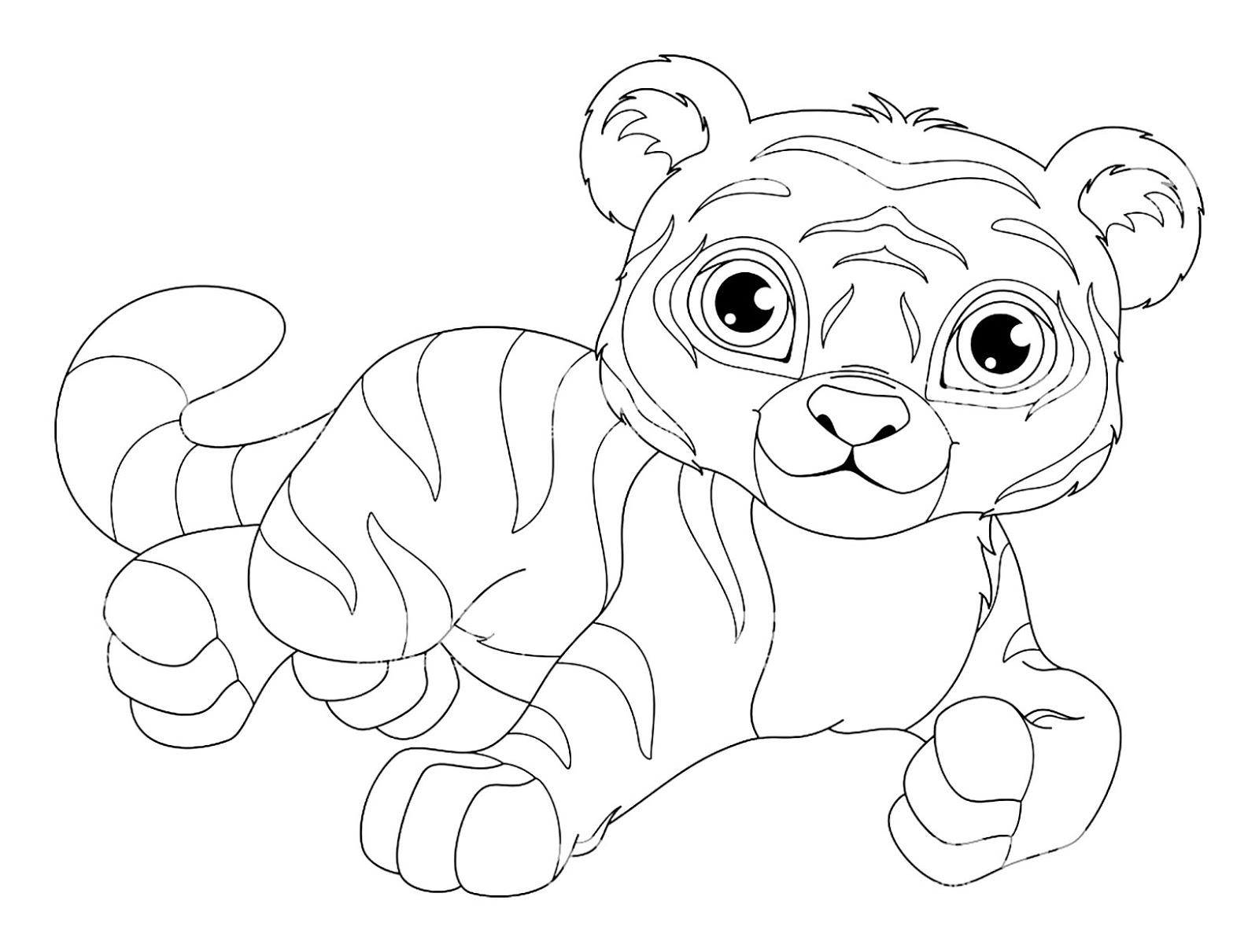 Tranh tô màu con hổ bé