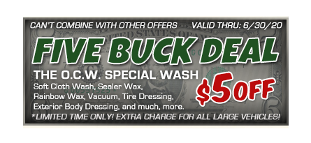 Car wash coupon with $5 discount at Overland Carwash