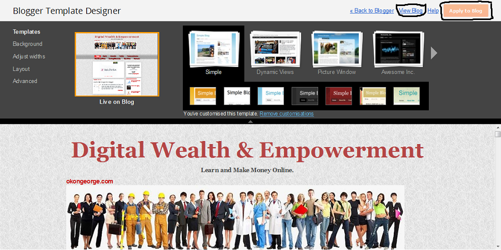 How to change blogger template okongeorge digital wealth click on any of the default templates and click on view blog to see the sample of the blog template youre about to change as seen on top side bar of the pronofoot35fo Image collections