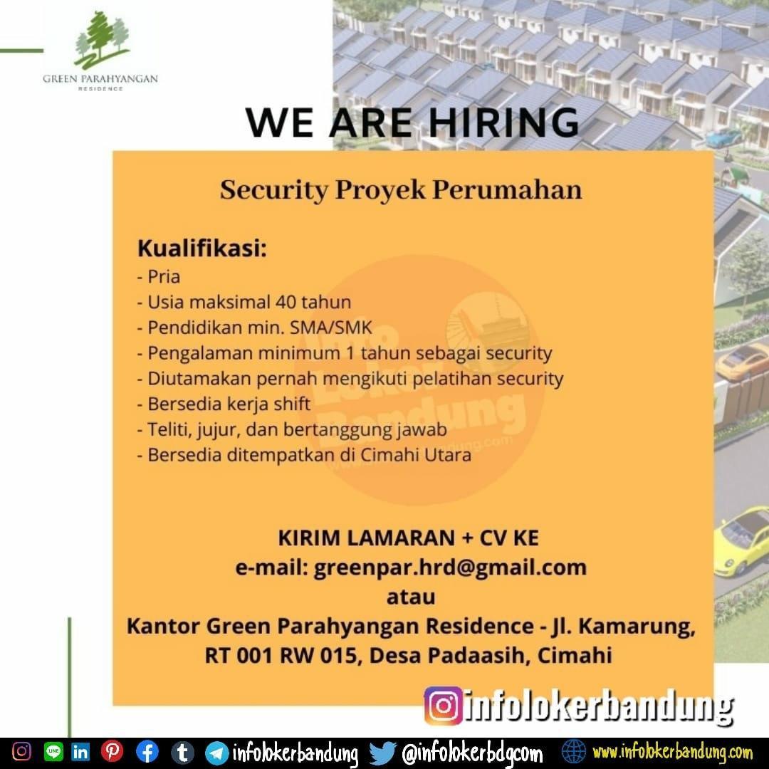 Lowongan Kerja Security Proyek Perumahan Green Parahyangan Residence Bandung Maret 2020