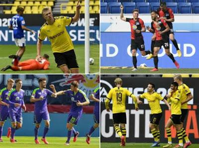 Bundesliga trở lại: Dở khóc dở cười các SAO ăn mừng bàn thắng
