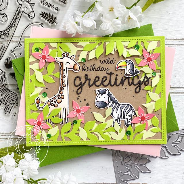 Sunny Studio Stamps: Savanna Safari Botanical Backdrop Dies Birthday Card by Leanne West