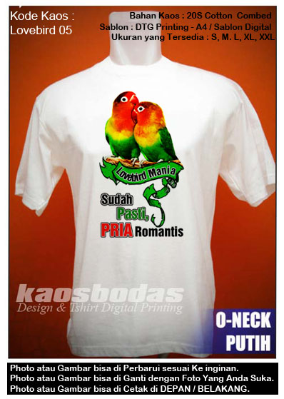 Kaos Gambar Love Bird 05