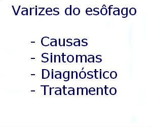 Varizes do esôfago causas sintomas diagnóstico tratamento prevenção riscos complicações