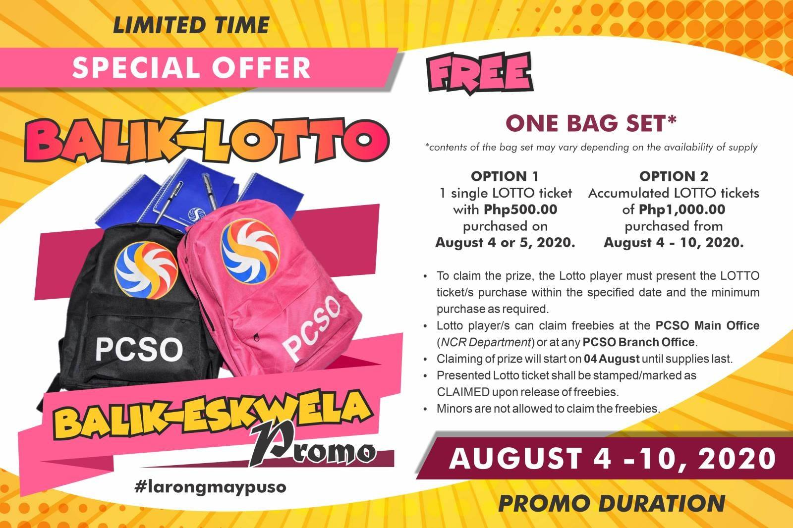 PCSO announce Special Offer Balik-Lotto