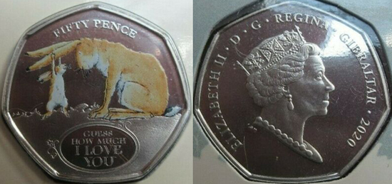 Gibraltar 50 pence 2020 - Guess how much I love you