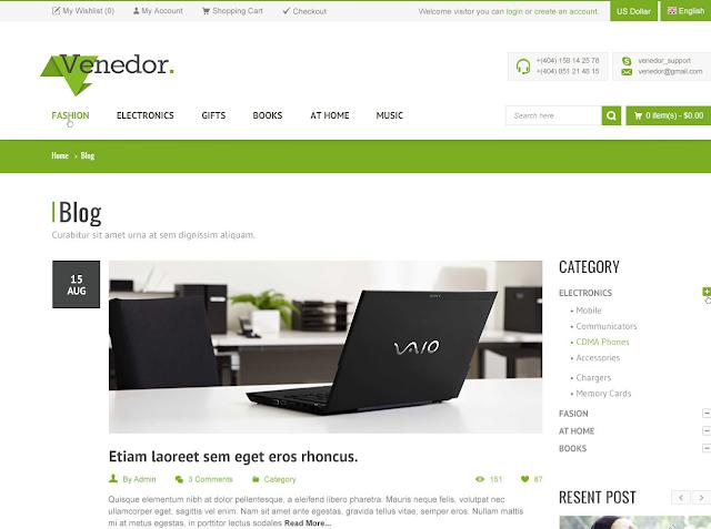 Mẫu thiết kế web bán hàng – Venedor