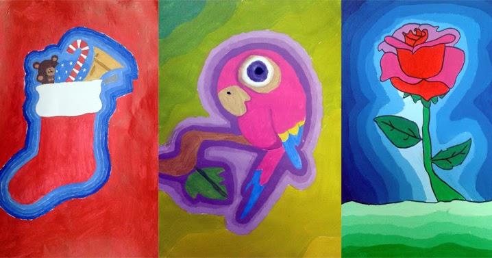 Dibujo Educativo Gradaciones de color con tmperas