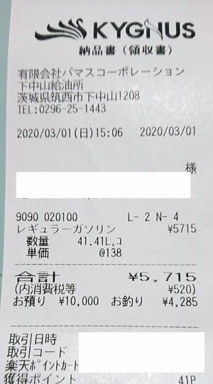 キグナス石油 セルフ下中山 2020/3/1 のレシート