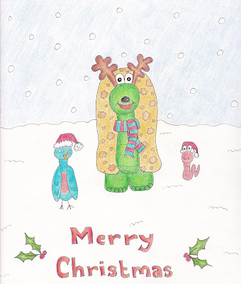 Merry Christmas image of Alfonso the tortoise and his friends