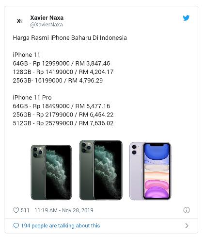 Ini dia Harga Iphone 11,11Pro,Dan 11 Pro Max yang baru di Umumkan di indonesia