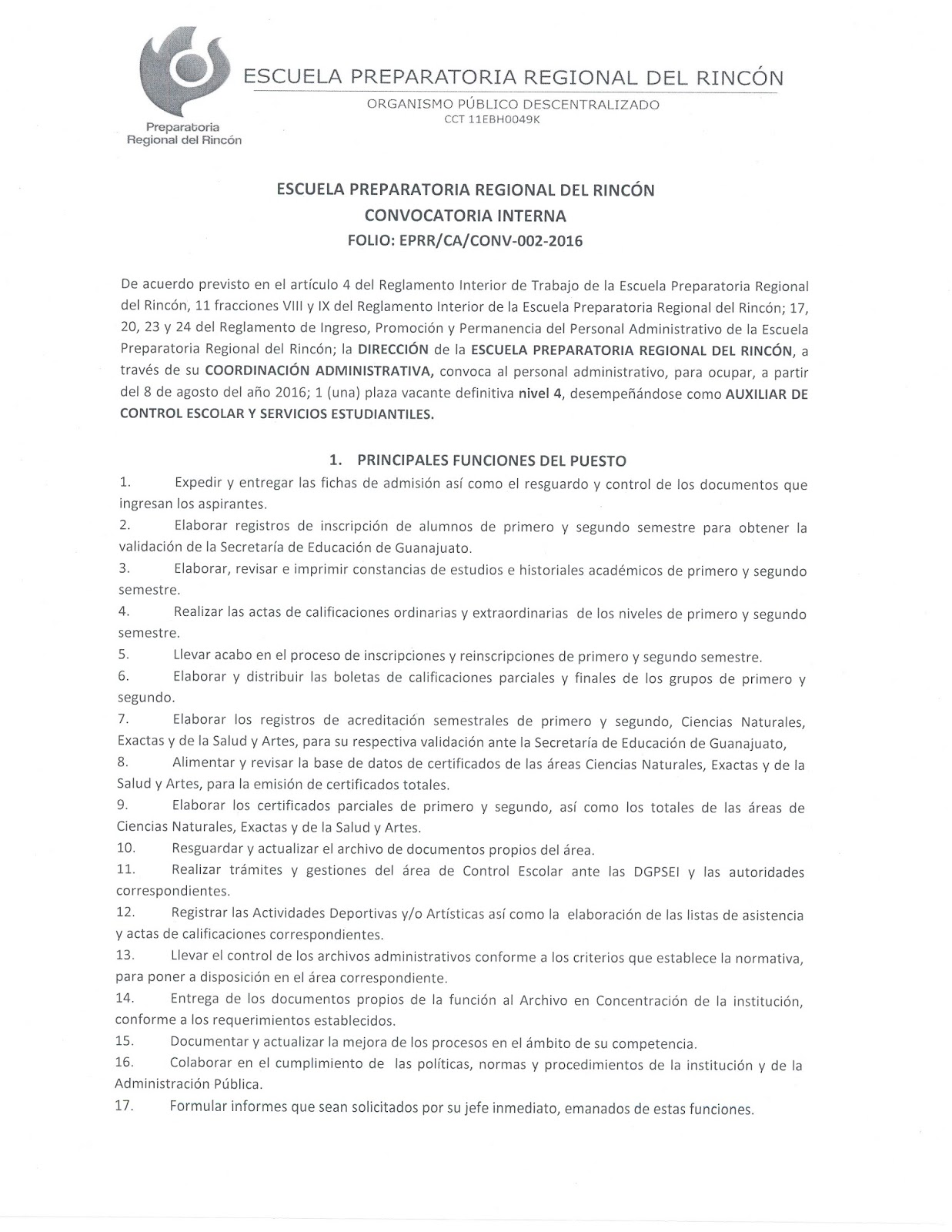 Blog docente de la preparatoria regional convocatoria for Convocatoria para las plazas docentes 2016