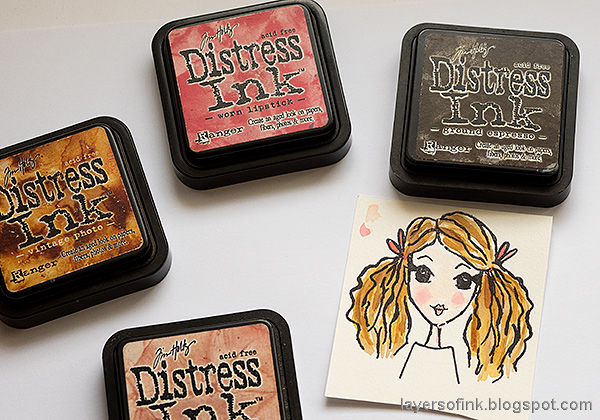 Layers of ink - Life, Art, Words Art Journal Tutorial by Anna-Karin Evaldsson. Inky Antics stamps.