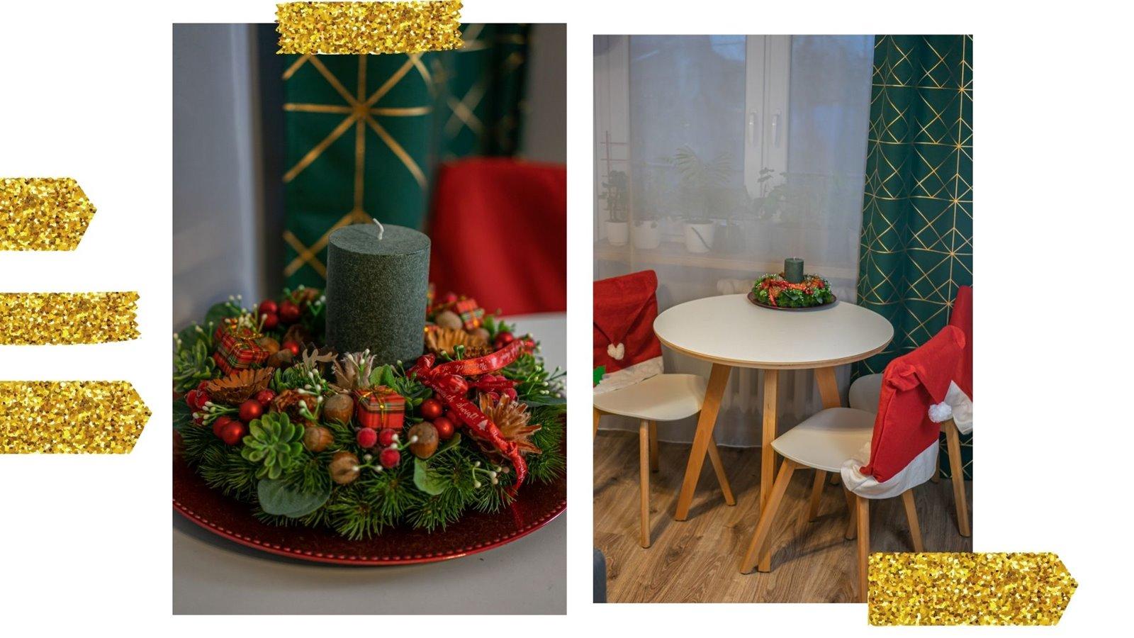 10 dekoracje stołu świątecznego wienieć swiateczny swiece butelkowo zielone zasłony ze słotym geometrycznym motywem pokrowce świąteczne czapki na krzesła do jadalni