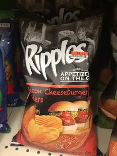 A bag of Ripples Bacon Cheeseburger Sliders Potato Chips, sitting on a Big Lots shelf