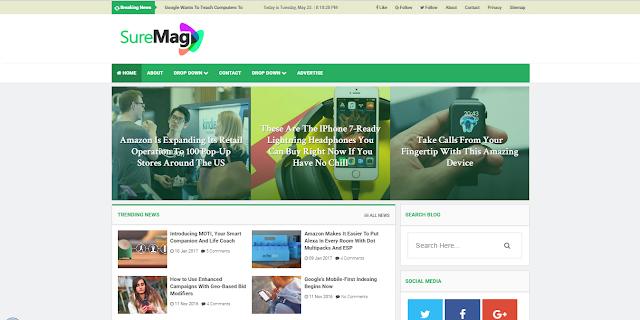 Sure Mag Magazine Blogger Templates Responsive Free Download