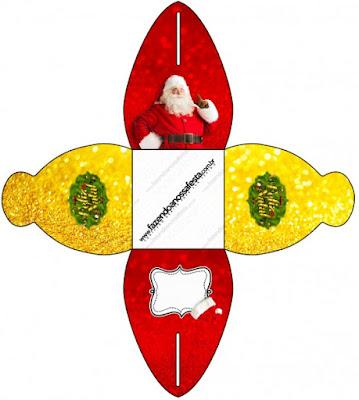 Caja para cupcakes, chocolates o golosinas de Santa Claus en Rojo y Dorado.