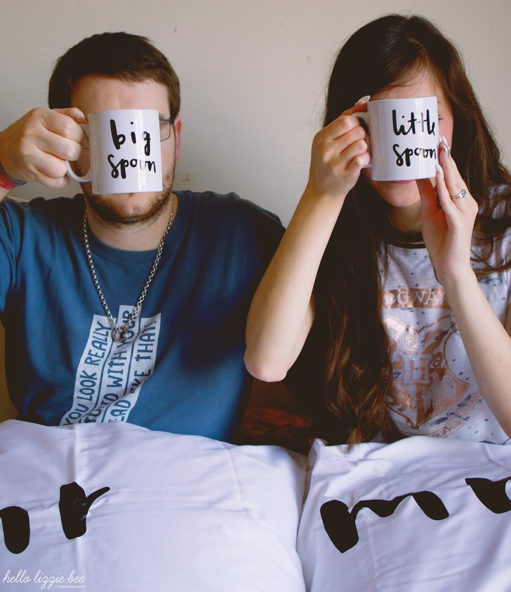 little spoon big spoon mugs, mr and mrs pillowcase