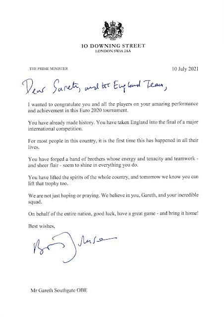 Boris' letter to the England football Team UEFA final day 110721