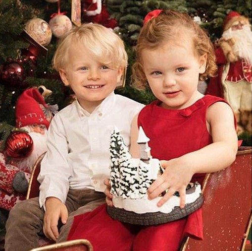 A Christmas Prince Dress >> Royal Family Around the World: Monaco Adorable royal twins turned three posed in red sleigh in ...