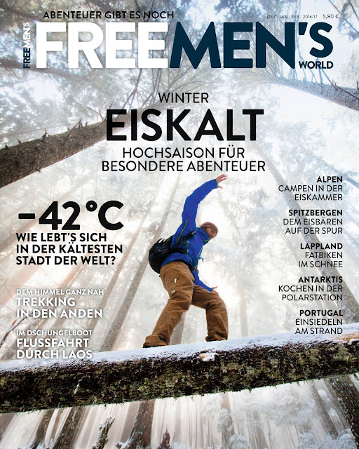 Hiking in the fog Freemans world magazine cover.