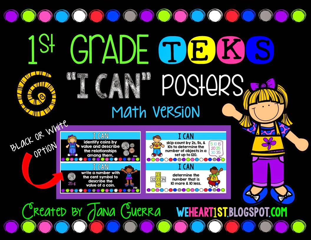 http://www.teacherspayteachers.com/Product/1st-Grade-TEKS-I-Can-Learning-Target-Posters-Math-Version-1336603