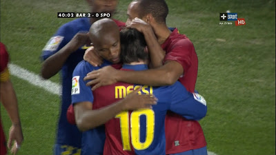 LFP-Week-22 : Barcelona 3 vs 1 Sporting Gijon 08-02-2009