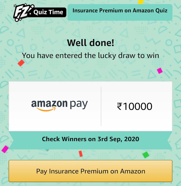 Amazon Pay Insurance Quiz Answers