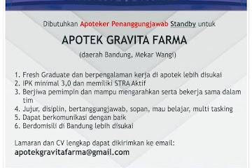 Lowongan Kerja Apoteker Penanggung Jawab Gravita Farma