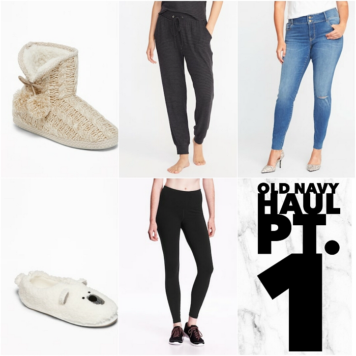 bbloggers, bbloggersca, canadian beauty bloggers, fbloggers, plus size, old navy, haul, fall 2017, fashion, style, style blogger, sweater weather, fashionblogger, polar bear, booties, slippers, compression leggings, lounge joggers, denim