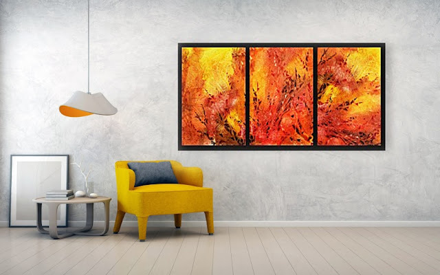 Hot abstract fire watercolor bestselling painting by artist Irina Sztukowski