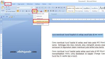 Mengubah Semua Huruf Menjadi Kecil di MS Word