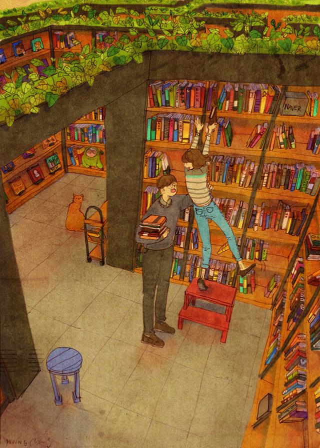 Aşk birlikte kütüphaneye gitmektir